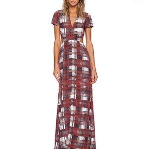 Lovers + Friends Harper Maxi Dress in Merlot Plaid